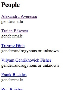 Screen Cap of Names and Genders extracted from Wikipedia